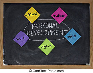 développement, tableau noir, personnel, concept