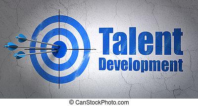 développement, talent, cible, mur, fond, education, concept: