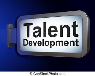 développement, talent, fond, panneau affichage, education, concept: