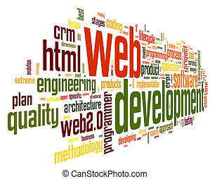 développement, toile, concept, mot, étiquette, nuage