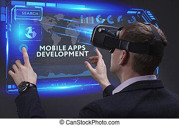 développement, voit, réseau, fonctionnement, inscription:, concept., apps, jeune, virtuel, business, mobile, avenir, internet, homme affaires, écran, technologie