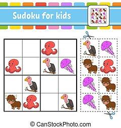 développer, pictures., puzzle, jeu, ensemble, page, ...