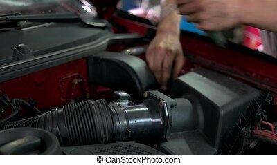 dévisser, réparateur, retirer, moteur, detail., grand, ...