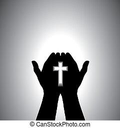 dévot, chrétien, adorer, à, croix, dans, main