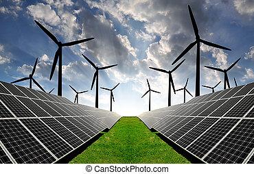 dê energia corda, painéis, solar, turbin