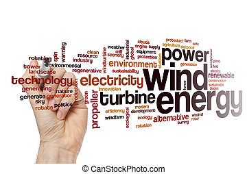 dê energia corda, palavra, nuvem