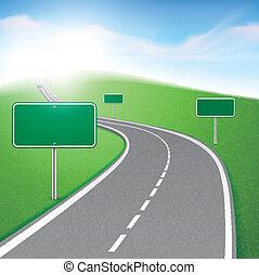dê estrada corda, com, vários, sinais estrada
