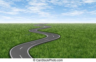 dê estrada corda, ligado, grama verde, horizonte