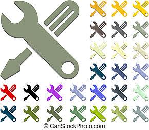 dê ferramentas, de, chave, e, screwdrive