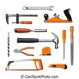 dê ferramentas, isolado, equipamento