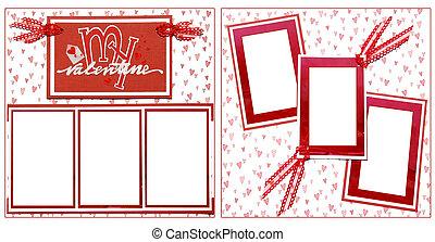día, álbum de recortes, plantilla, marco, valentino