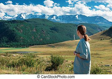 día, altai, mujer, montañas, belleza, verano