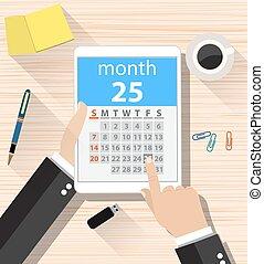 día, app, hombre de negocios, clics, calendario