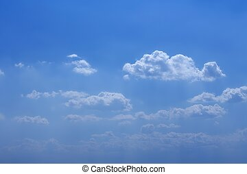 día, azul, soleado, cielo, nubes, hermoso, blanco