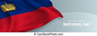 día, bandera, nacional, saludo, card., liechtenstein, vector