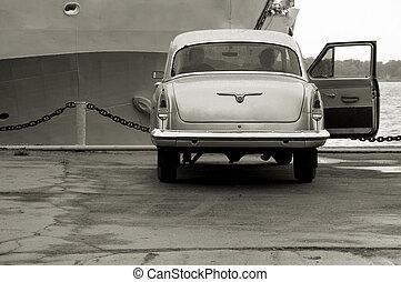 día, coche, barco, amarra, lluvioso, línea