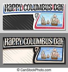 día, columbus, disposición, vector