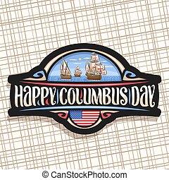 día, columbus, logotipo, vector