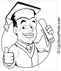 día de graduación, -, vector, carácter