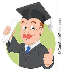 día de graduación, vector, carácter