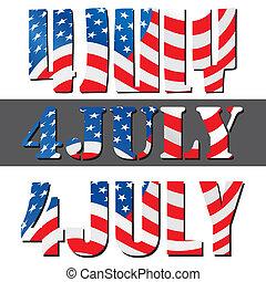 día de independencia, julio, norteamericano, 4