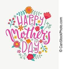 día de la madre feliz, tarjeta, handdrawn, lettering.