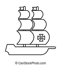 día de la raza, caravel, estilo, icono, línea, barco