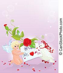 día de los valentine`s, ilustración, con, rosa, ángel, carta, y, dove., espacio vacío, para, su, text.