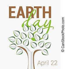día de tierra, saludo, con, árbol, hecho, de, papel, con, shadow., vector, ilustración