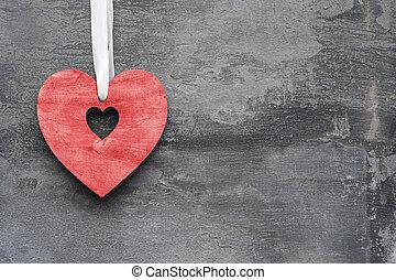 día de valentín, adore corazón, en, rústico, estilo, plano de fondo