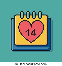 día de valentín, calendario, icono