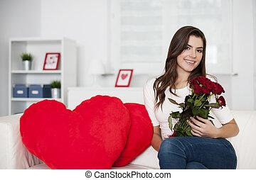 día de valentín, con, ramo, de, rosas rojas