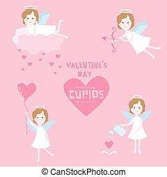 día de valentín, conjunto, -, cupido, ángeles, con, corazones, -, en, vector