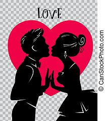 día de valentines, card., amantes, beso, fondo, de, rojo,...