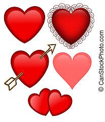 día de valentines, corazones, aislado
