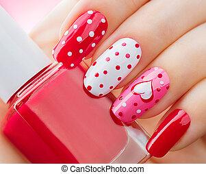 día de valentines, feriado, estilo, brillante, manicura,...