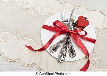 día de valentines, fondo., día de valentines, tabla, setting., placa, en forma, de, corazón