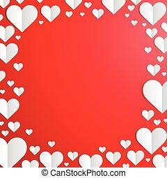 día de valentines, marco, con, corte instrumentos de crédito, corazones