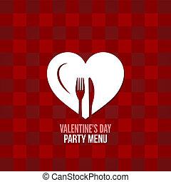 día de valentines, menú, alimento, bebida, diseño, plano de fondo