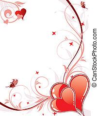 día de valentines, plano de fondo, con, corazones, y,...
