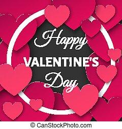 día de valentines, plano de fondo, con, corte instrumentos de crédito, corazones, y, redondo, frame.