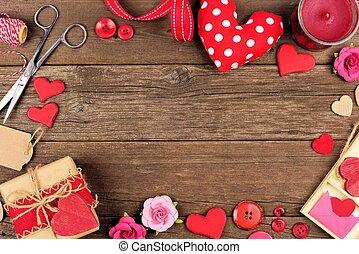 día de valentines, regalo, concepto, marco, contra, rústico, madera