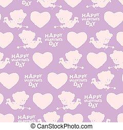 día de valentines, seamless, pattern., silueta, de, cupid., rosa, ángel, en, púrpura, fondo., romántico, textura, para, día de valentín, 14, february.