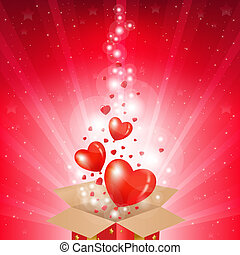 día de valentines, tarjeta, con, caja, y, sunburst