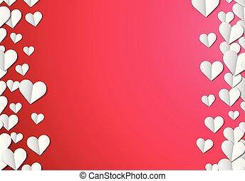 día de valentines, tarjeta, con, corte instrumentos de crédito, corazones