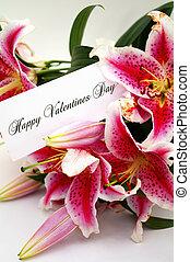 día de valentines, tarjeta, con, liliums