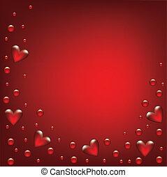 día de valentines, tarjeta, con, transparente, hearted