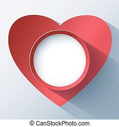día de valentines, tarjeta, marco, con, 3d, corazón