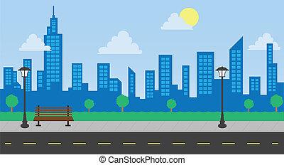 día, edificios, calle, parque