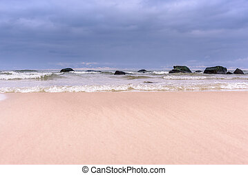 día, en, playa